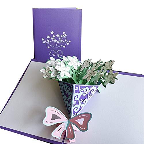 Hecho a mano flor 3D Pop Up tarjeta de agradecimiento Tarjetas de Acción de Gracias Día de la Madre Tarjetas de regalo de felicitación con sobre para mamá