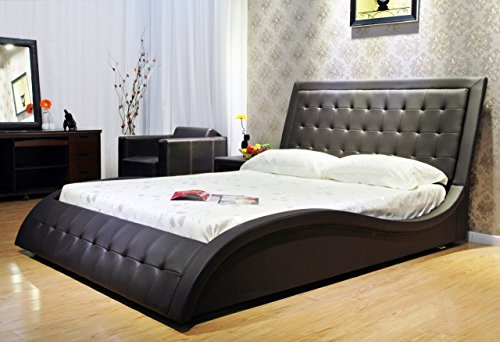 Greatime B1136-2 Eastern King Dark Brown Wave-Like Shape Faux Leather Platform Bed, with Euro Curved Slats