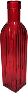 Backwoods Lighting LLC Red Decrotive Glass Square Bottle Vase with Ribbed Glass and Cork Top