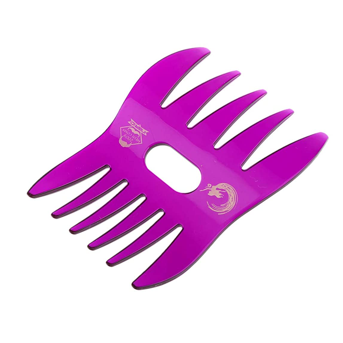 T TOOYFUL デュアルサイドメンズオイルヘアコンサロン 帯電防止髪 くし 口ひげ - 紫