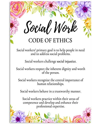 Social Work Code of Ethics Poster No Frame Or Framed Canvas 0.75 Inch Print in Us Novelty Quote Meaningful, Motivational