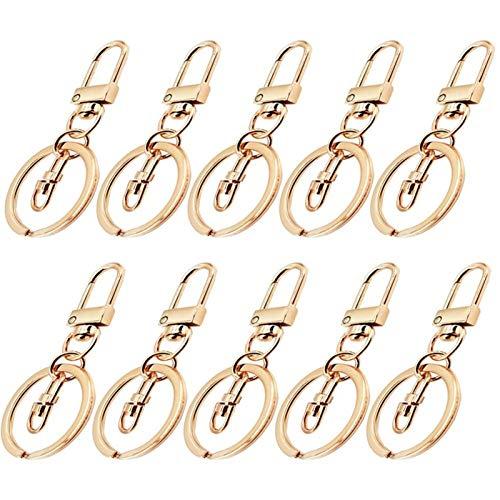 Dauerhaft 10 Stück 3 Anzüge Swivel-Schnappverschluss Haken mit 30mm Ring-Metall-Lanyard-Gurtband-Schnalle-Clips DIY-Zubehör Mehrzweck-Schlüsselbund (Color : Light Gold)