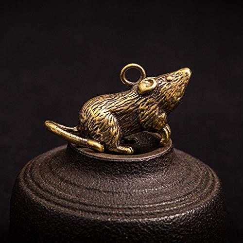 LBSST Kleine Maus Metall Schlüsselbund Anhänger Bronze Ratte Schlüsselanhänger Ring Zubehör Vintage Messing Schlüsselring Behänge Schmuck Kinder Geschenke