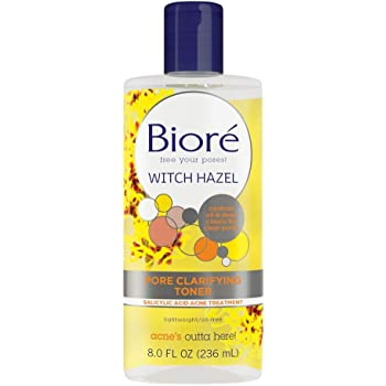 Bioré Witch Hazel Pore Clarifying Toner, with 2percent Salicylic Acid for Acne Clearing and Balanced Skin Purification, 8 Ounce