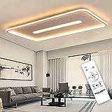 SHILOOK Led Deckenleuchte Dimmbar mit Fernbedienung, 76W Flach Modern Deckenlampe für Wohnzimmer/Küche/Büro, 7600lm 3000k-6000k, Rechteckig Ultra Dünn Weiß