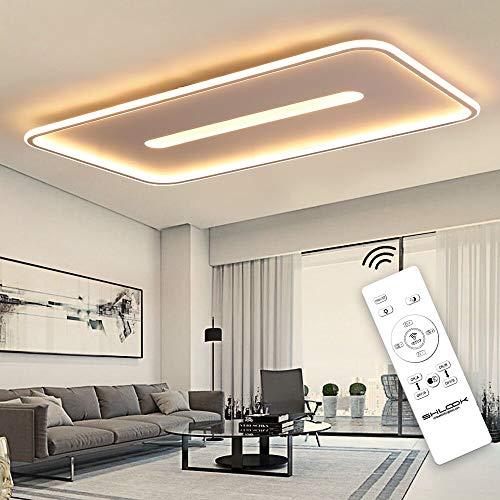 SHILOOK Lámpara LED de techo plana regulable con mando a distancia, 76 W, moderna lámpara de techo para oficina, salón o cocina, 7600 lm, 3000 K - 6000 K, rectangular, ultra fina, color blanco