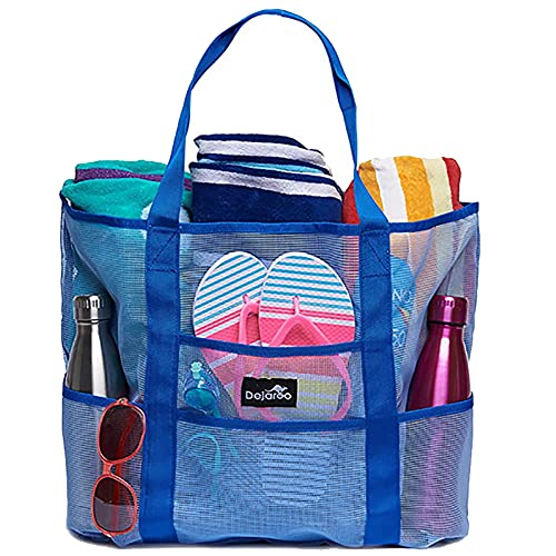 MULTIONS 40L große Mesh Beach Einkaufstasche mit wasserdichter und waschbarer 8-Pockets Top Zip Schnelltrocknende Badetasche für Sommerpool Camping Picknick Sportreisen (Blue,XXL)