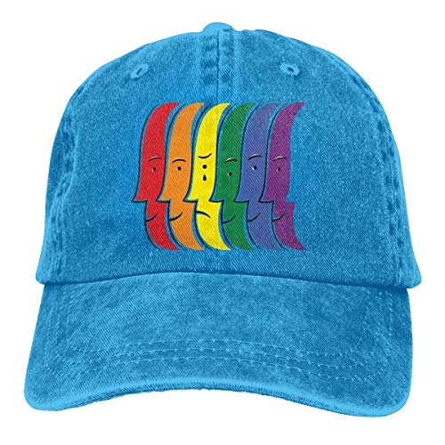 Sombreros Sombrilla Al,Ocio Sombrero,Sombrero De Deporte,Sombrero De Sol,Dad Hat,Llorando Gorra De Béisbol De Mezclilla De Algodón con Bandera del Arco Iris Humana Gorra Ajustable De Hip-Hop
