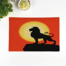rouihot Set of 6 Placemats Yellow Lion on Rock Black Silhouette The Sunset African 12.5x17 Inch Non-Slip Washable Place Mats for Dinner Parties Decor Kitchen Table
