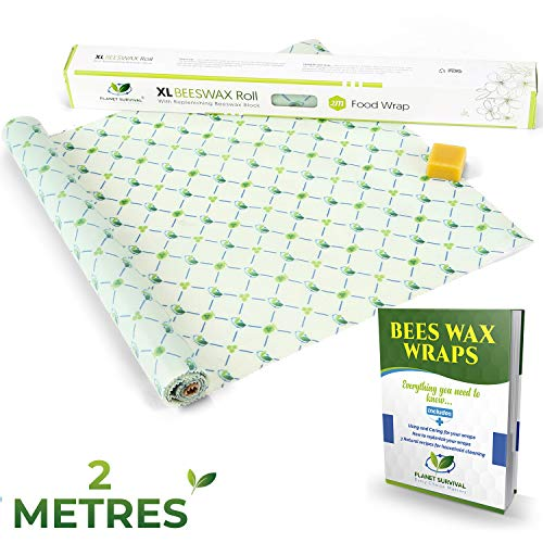 XL Bijenwas Wraps Voedsel Wraps 2 Meter Roll + Refresher Bijenwas Blok +Instructie E-Boek | Herbruikbare Food Sandwich Wrap | Plastic Gratis Clingfilm Alternatief | Eco Organic Food Storage | Planet Survival®