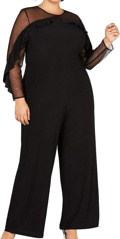 R&M Richards Women's Plus Size Womans Sheer Sleeve Jumpsuit