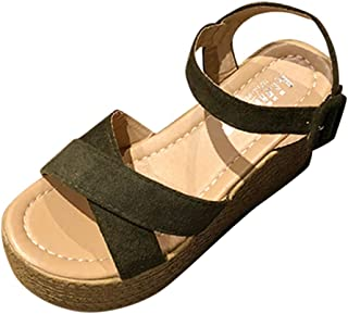 Sandalias Mujer Verano,Mujeres pescado boca plataforma tacones altos sandalias cuña hebilla sandalias de la inclinación LMMVP