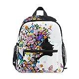 Afrikanisches Mädchen mit Blumen, Vogel-Rucksack für Mädchen, Jungen, Kinder, Schule, Reisen, Mini-Büchertasche