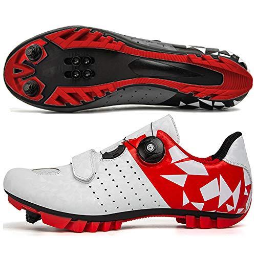 KUXUAN Zapatillas de Ciclismo MTB para Hombre,Zapatillas de Ciclismo de Montaña con Candados Zapatillas Deportivas de Invierno para Hombres y Mujeres/Suelas de Nailon,White-41EU=(255mm)