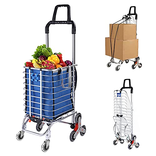 Grocery Cart with Wheels Folding Shopping Cart with...