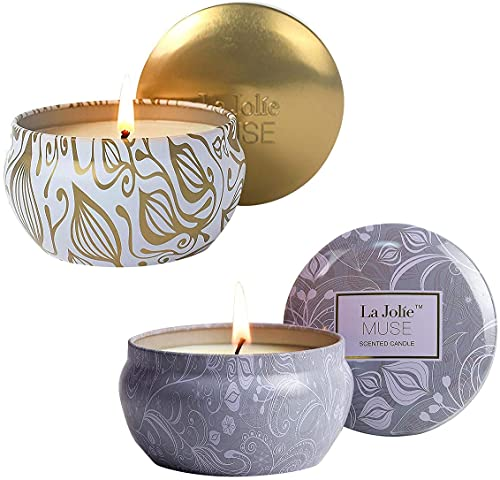 LA JOLIE MUSE Scented Candles Gift Set 2, Vanilla Coconut Candle, Blue Lotus Candle, Aromatherapy Candles, Stress Relief Candles for Bath Spa, Candle Gift for Women