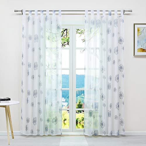 ESLIR Gardinen mit Schlaufen Vorhänge Fensterschal Transparent Schlaufenschal mit Löwenzahn Muster Voile Weiß BxH 140x175cm1 Stück