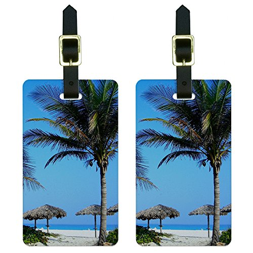 Graphics & More Tropical Beach Resort-Palm Tree Sand Luggage Tags Suitcase Id, White