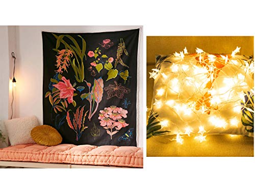 """MSOrient Floral Tapestry, Wildflower Vertical Tapestry, Black Plant Tapestry, Tapestry for Bedroom Dorm Room- (Contains USB 19 FT Star String Lights+Floral Tapestry) (Floral-1, 78.7"""" 59"""")"""