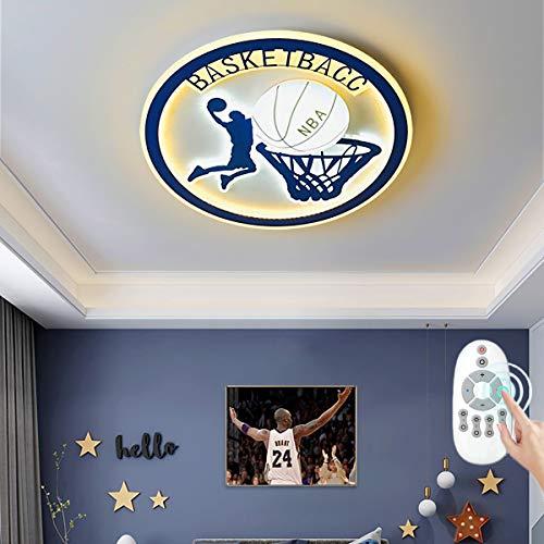 Plafonnier LED Rond Basketball Lampe de Plafond Dimmable avec Télécommande Lumière Chambre d'Enfants Ø50 cm Décoration Éclairage Intérieur pour Chambre Salon Bureau Couloir