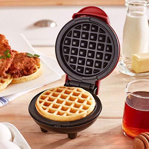 ZZFF Mini Elektrische Waffelautomat Für Klassische,Protable Nicht-Stock Waffelpfanne Frühstückspfanne Für Individuelle Waffeln Paninis Rösti Frühstück Mittagessen Oder Snacks Rot