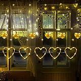 Luci a Forma di Cuore di San Valentine Luci per Tende a LED in 8 Modalità Lampeggianti per Natale Matrimonio Decorazione della Finestra di Casa Camera da Letto (Bianco Caldo)