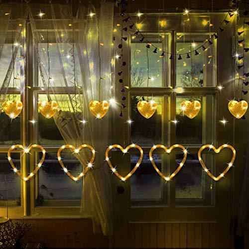 Valentinstag Herzförmige Lichter LED Vorhang Lichter in 8 Blinkenden Modi für Weihnachten Hochzeit Schlafzimmer Zuhause Fenster Dekoration (Warm Weiß)