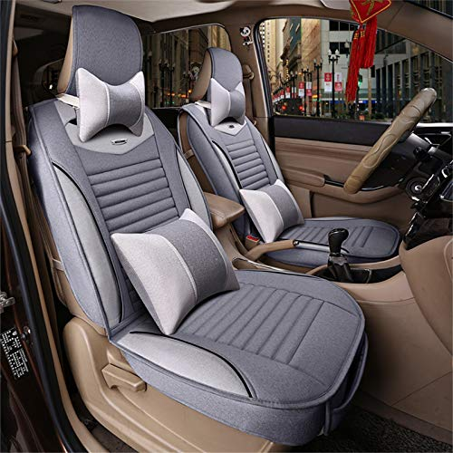 JYWAJAA Car Seat Covers Full SetLeather Car Seat Cover Universal Car Seat CoversBreathable Linen Material Warm in Winter Scratch Resistant Breathable, Suitable for 7-Seater Models,Gray B