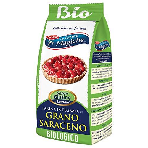 Le Farine Magiche Farina integrale di Grano Saraceno Bio, Senza Glutine, ricca di Fibre e Aminoacidi, ideale per Pizza, Pane e Plumcake, Confezione da 500 g