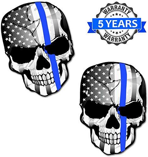 Biomar Labs® 2 Stück Vinyl Schädel Thin Blue Line USA Polizei Flagge Aufkleber Autoaufkleber Stickers Auto Moto Motorrad Fahrrad Helm Fenster Tuning B 227