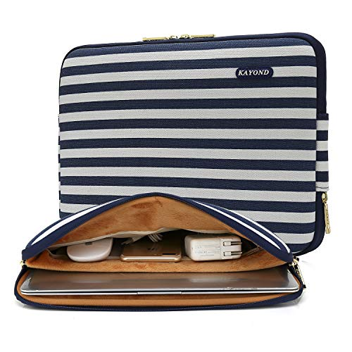 KAYOND Blue stripes Water-resistant 14 inch Canvas laptop sleeve with pocket for 14 inch 14.1 inch laptop case Macbook Pro 15.4 A1707 (14-14.1 inch, Blue stripes)