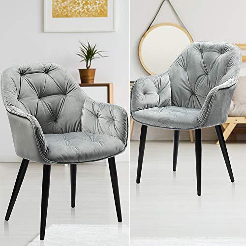 Esszimmerstühle 2er Set, Samt Küchenstühle grau Polsterstuhl mit armlehne Wohnzimmerstühle elegant Microfaser Stühle, Schwarz Metallbeine Belastbar bis 180kg