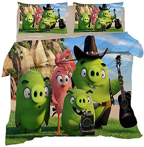 Angry Birds - Juego de cama infantil (135 x 200 cm, funda nórdica de 135 x 200 cm y 80 x 80 cm),...