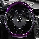 XTQDM housse de volant,Couverture de volant de voiture en forme de D moyeux de volant de massage quatre saisons en cuir brillant, pour Kia Sportage Optima K5 pour Nissan violet