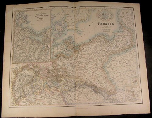 Prussia River Oder c.1860 Fullarton Poland Posen nice large antique map
