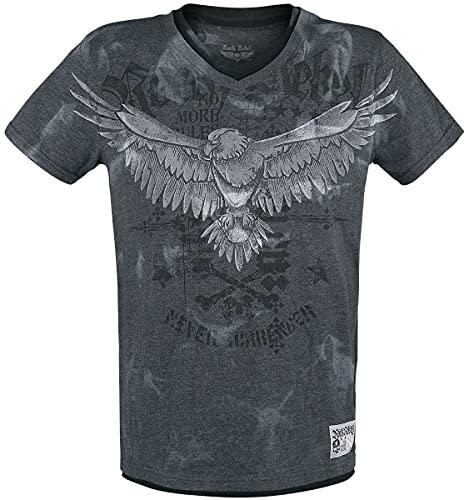 Rock Rebel by EMP Camiseta con Estampado y Cuello en V Hombre Camiseta Gris L, 100% algodón, Regular