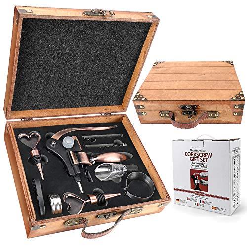 RERXN Caja de madera antigua de accesorios de vino conjuntos de regalo – Conejo abridor de vino Set de sacacorchos de vino tapón de vino y vertedor de vino (antiguo)