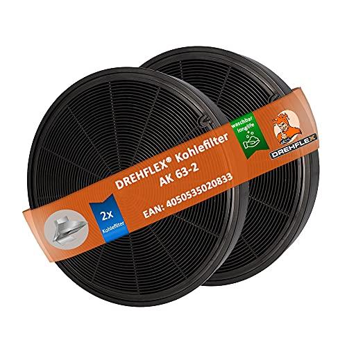 DREHFLEX - AK63-2 - Kohlefilter kompatibel mit Bosch Siemens Neff für 00748733 Zubehör LZ55651 LZ55650 Z5135X1 – waschbar / Longlife – für senkrechten Einbau