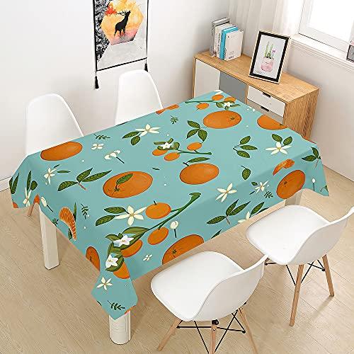 FANSU Naranja Manteles de Mesa Rectangular para Decorar, Impermeable Antimanchas Comedor Cuadrada de Impresión Manteles para Cocina/Cena/Picnic Decoración (Verde Claro,140x220cm)