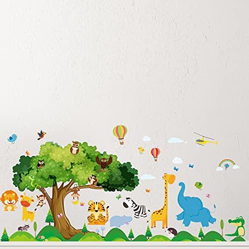 4 Piezas Calcomanías de Animal Pegatinas Autoadhesivas de Animal de Pared de Guardería Pegatinas Lindas de Escena de Zoológico para Decoración de Jardín de Infancia Habitación de Niños