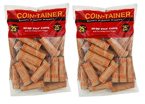 ATB 72 Pcs Preformed Quarter Tubes Paper Coin Wrapper Shotgun Roll