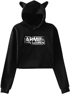 Womens Armin Van Buuren Logo Fashion Comfortable Long Sleeve Crop Top Hoodie