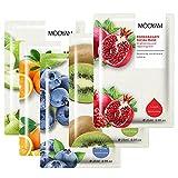 Pack 5 Mascarillas Hidratantes Revitalizantes Nutritivas Relajante, Extracto de Frutas (Manzana Verde, Naranja, Kiwi, Arándano, Granada Roja)
