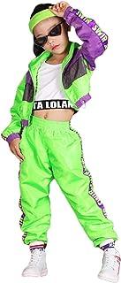 Conjunto de Ropa de Hip Hop para niñas de 3 Piezas, Traje de Baile Callejero para niños, Chaleco Recortado, Chaqueta Verde...