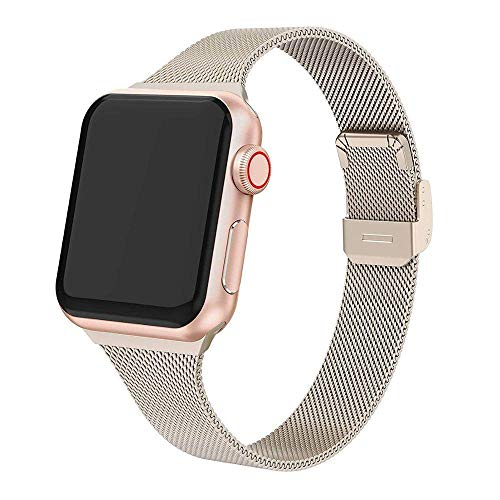 DYH&PW Correa milanesa compatible con Apple Watch Band 44 mm 40 mm compatible con iWatch Band 42 mm/38 mm pulsera de acero inoxidable compatible con Apple Watch Series 3 4 5 6 SE, oro champán, 42 mm