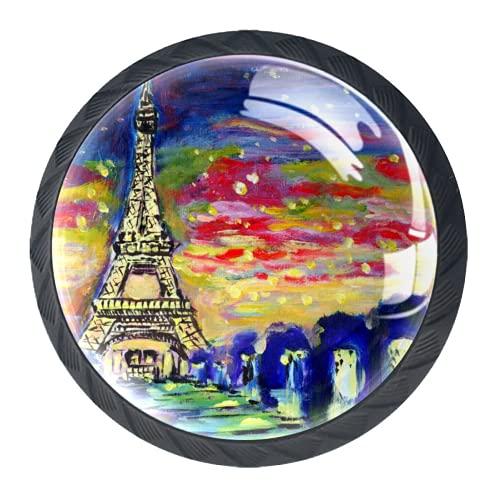 LXYDD Manijas para cajones Perillas para gabinetes Perillas Redondas Paquete de 4 para Armario, cajón, cómoda, cómoda, etc, Pintura al óleo Sunset Paris