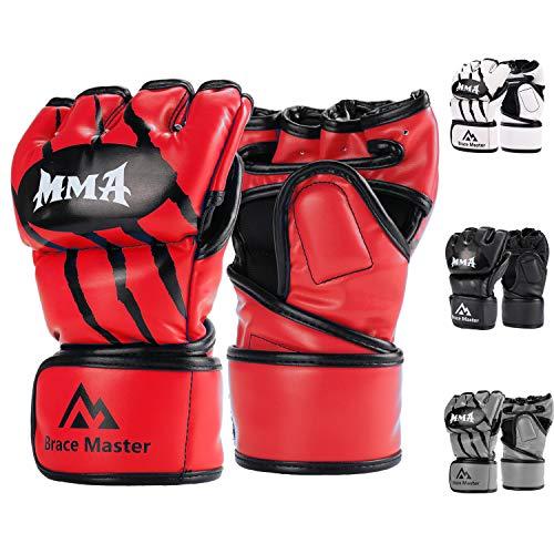 Brace Master Guanti MMA UFC Gloves per Grappling, Lotta, Muay Thay, Pugilato, Arti Marziali Miste, Sacco Boxe, Combattimento, Guantoni da Pugilato Senza Dita per Uomo Donna Guanti di Coaching