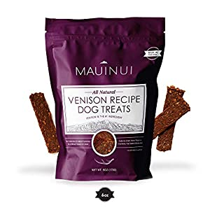 Maui Nui Venison Dog Treats 6 oz, Made in The USA – Real Meat Treats for Dogs – Sustainably Sourced Wild Harvested Axis Deer Jerky