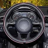 Coprivolante per Auto in Pelle Microfibra 15 Pollici, Protezione Custodia Volante Cover Nero Vino Rosso, Coprivolante in Pelle Microfibra Traspirante e Antiscivolo (Vino Rosso)