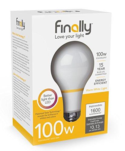 New Finally Light Bulb, 100 watt Equivalent A21, Single Light Bulb, Long Lasting, Warm White, Non-LED, Energy Efficient, with Tesla Technology